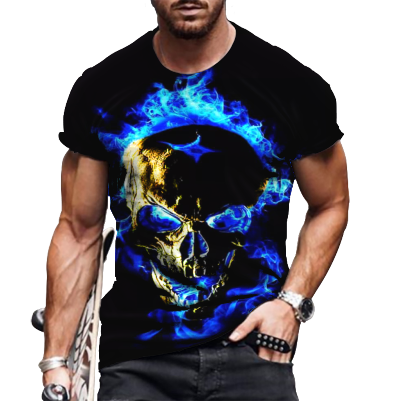 3D Printing Horror Skull Men's T-Shirt Street Fashion Personality Blue Flame Skeleton Short-Sleeved Wild Loose Oversized Top 6XL