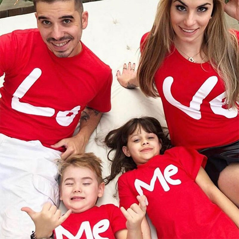 family matching clothes mother father daughter son kids baby T-shirt Parent-child Red Letter Print Short Sleeve Tops