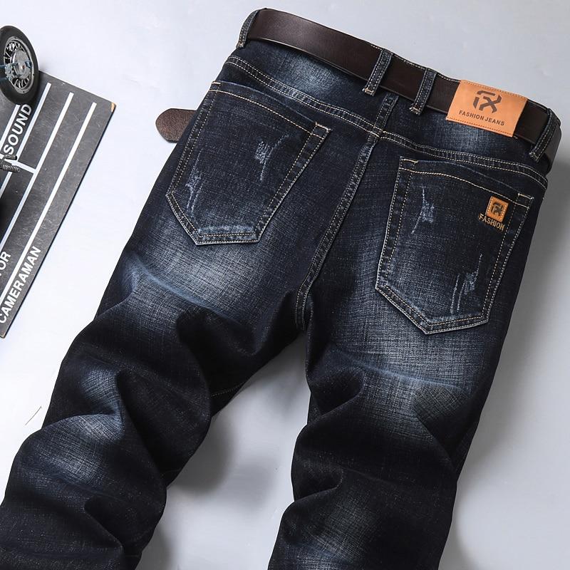 2020 Autumn New Men's Classic Blue Black Slim-fit Jeans Business Cotton Elastic Regular Fit Denim Pa