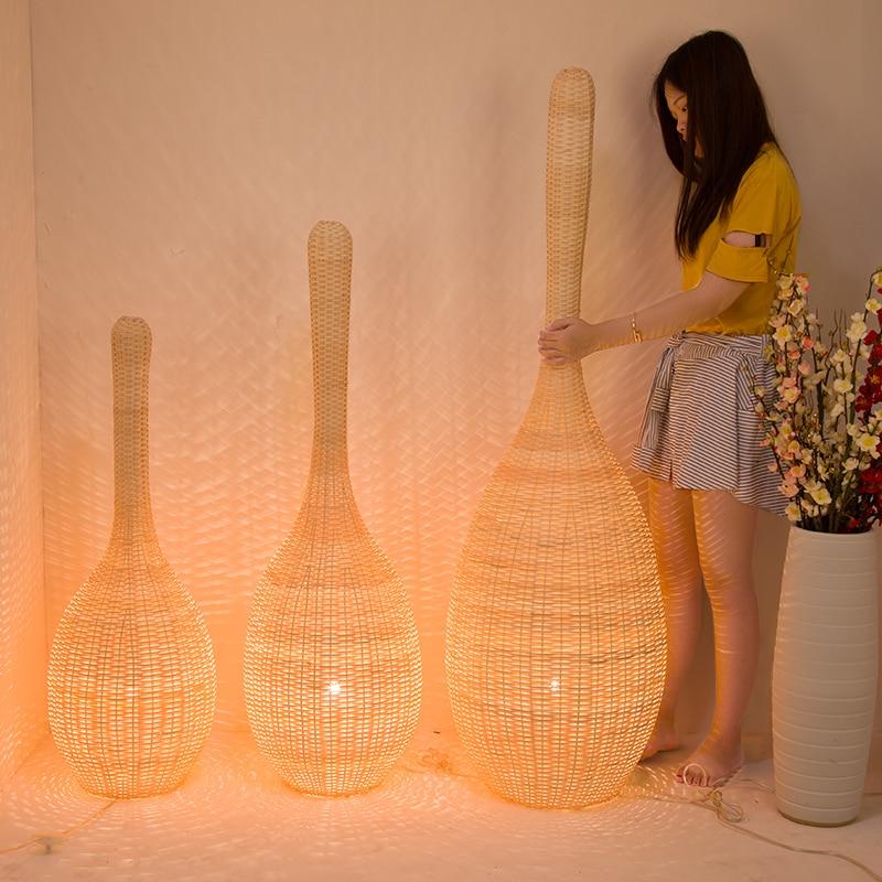 luminaria de chao japonesa lampada decorativa moderna de bambu para hotel sala de