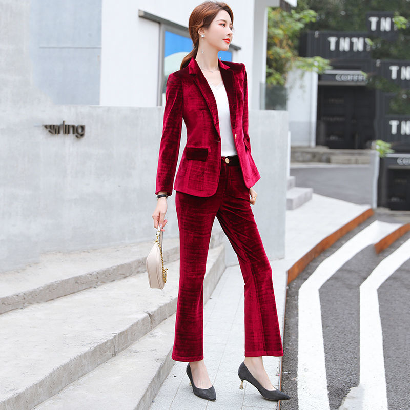 Autumn and winter thick gold velvet suit female Korean fashion style high-end professional red small suit two-piece suit