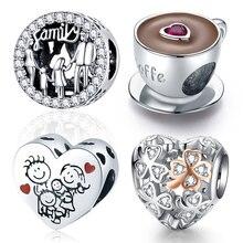WOSTU-breloques en argent sterling 925, pour la famille, en forme de cœur, pour bracelet Original en argent sterling, livraison vers la pologne, bijoux à bricoler soi-même