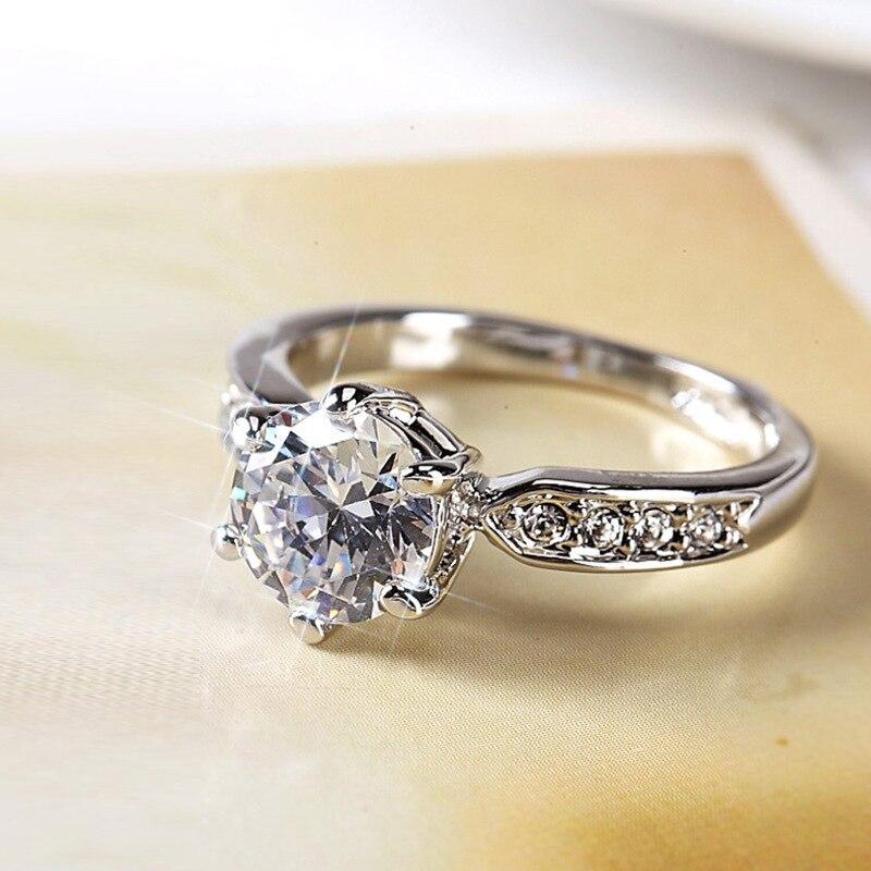 Anillo de piedra de cristal blanco femenino clásico lindo 925 anillos de boda finos de plata para mujeres anillo de compromiso redondo nupcial minimalista