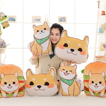 Mignon chien jaune Shiba Inu tissu hiver main chaud oreiller coussin anniversaire bébé fille en peluche poupée enfant jouet cadeau de noël