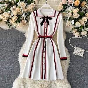 Women French Knitted Dress 2021 Autumn Spring Sweet Bow Button Elastic A-line Dress Korean Fashion Streetwear Dress  DZA358