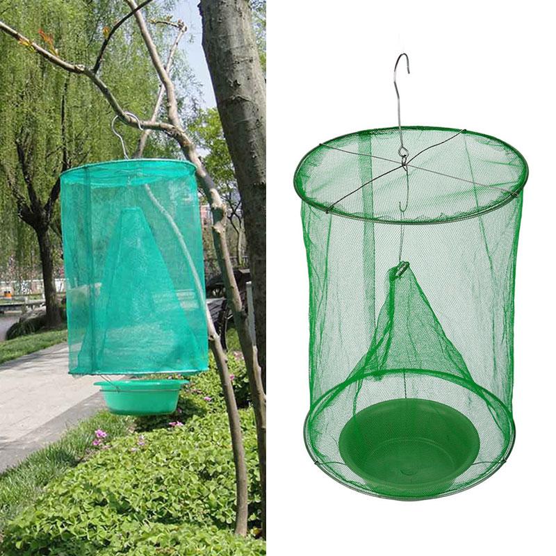 Hanging Fly Catcher Killer Reusable  Flies Pest Control Flytrap Zapper Cage Net Trap Garden Home Yard Supplies