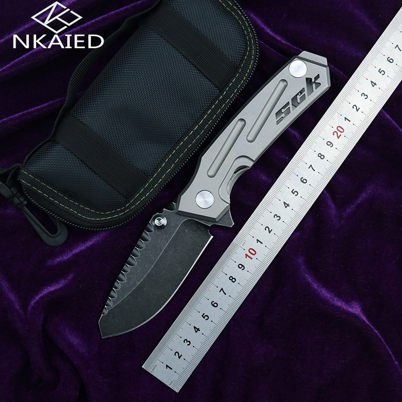 NKAIED nuevo N005 cuchillo plegable S35VN cuchilla de titanio con mango de cerámica con rodamiento cuchillo para acampar caza al aire libre escalada cuchillo para frutas EDC