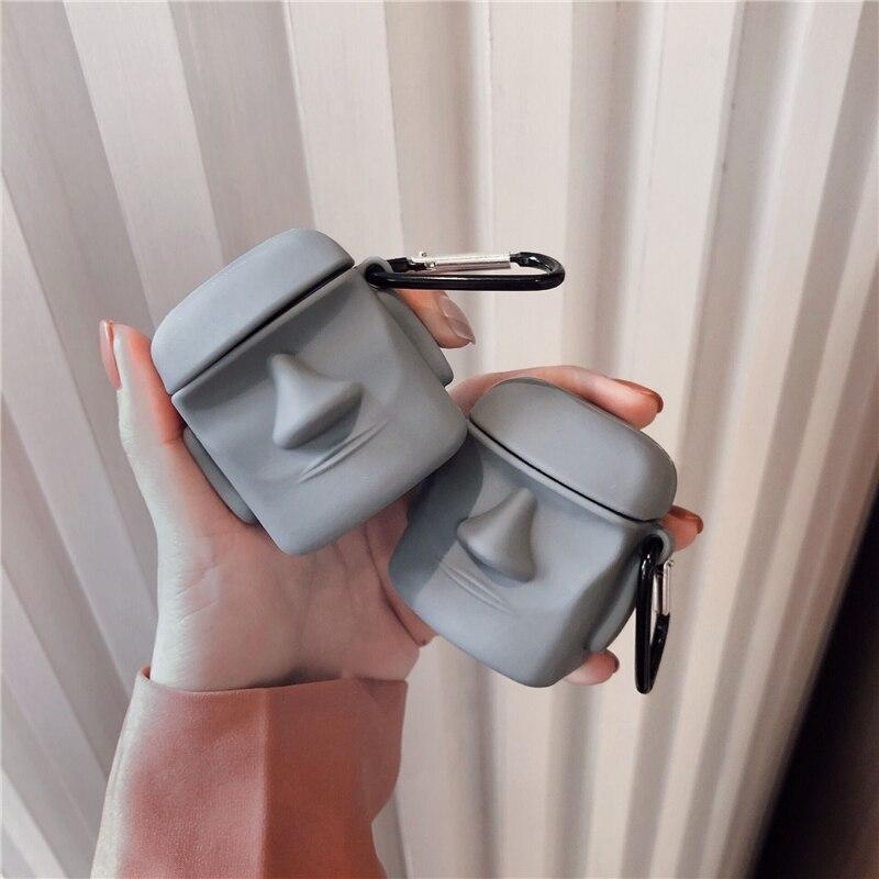 3D чехол для наушников Airpods 1 2 чехол силиконовый Пасхальный Камень Статуя Moai милый мультяшный чехол для Apple Air Pods чехол для наушников