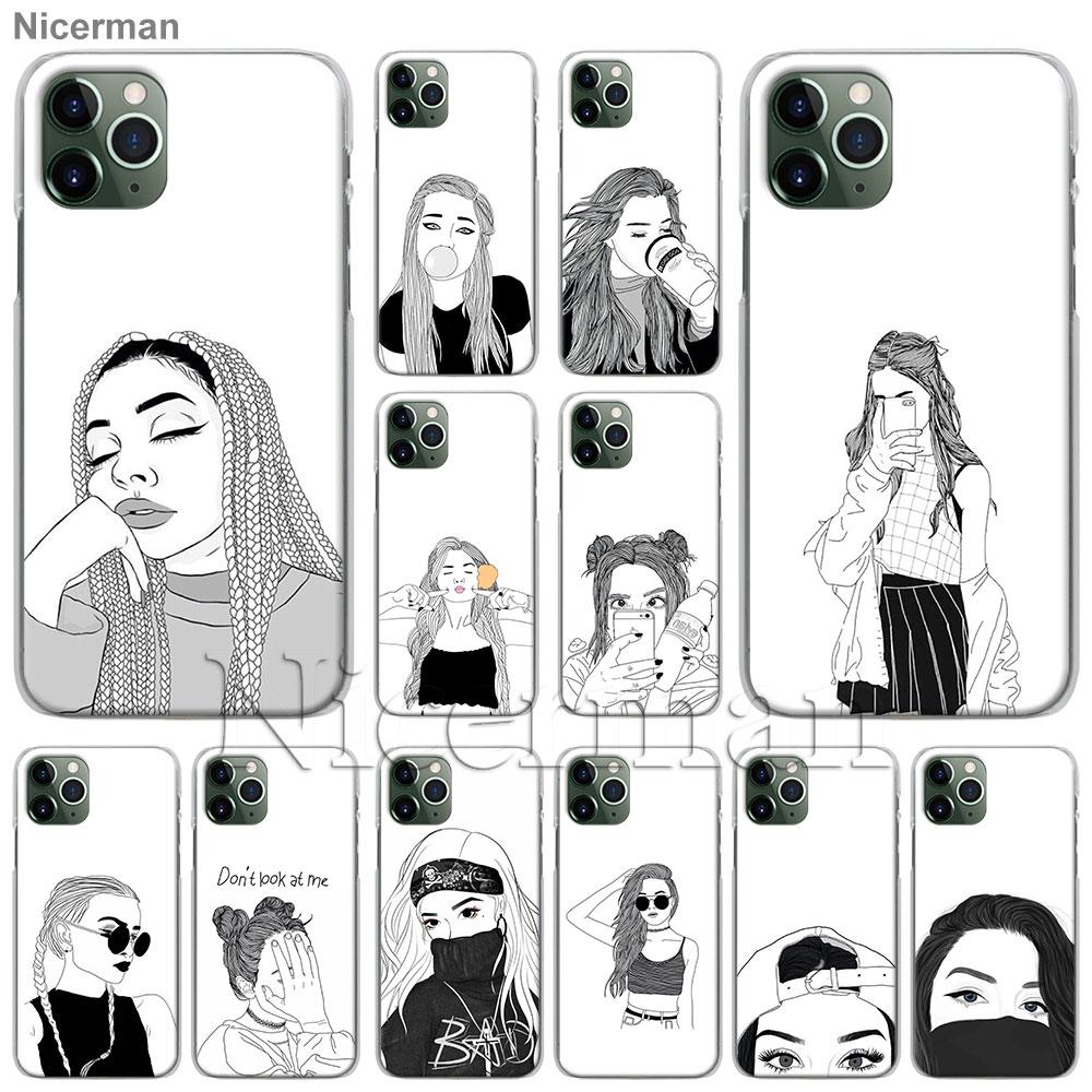 Funda de teléfono para Apple iPhone 11 Pro Max X XR XS MAX 6 6s 7 8 Plus 5 5s SE, funda dura Coque chica Tumblr negro blanco chicas
