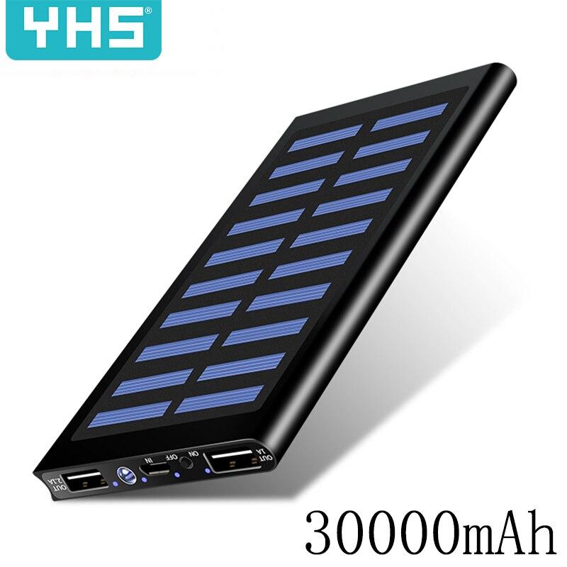 Banco de energía Solar 30000mah batería externa 2 USB LED banco de energía portátil teléfono móvil Cargador Solar para Xiaomi mi iphone 7 8 X