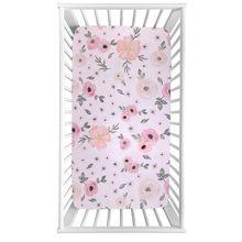 Sábana ajustable para cuna suave transpirable Funda de colchón para cama de bebé con impresión de recién nacido para tamaño de cuna 130 × 70cm