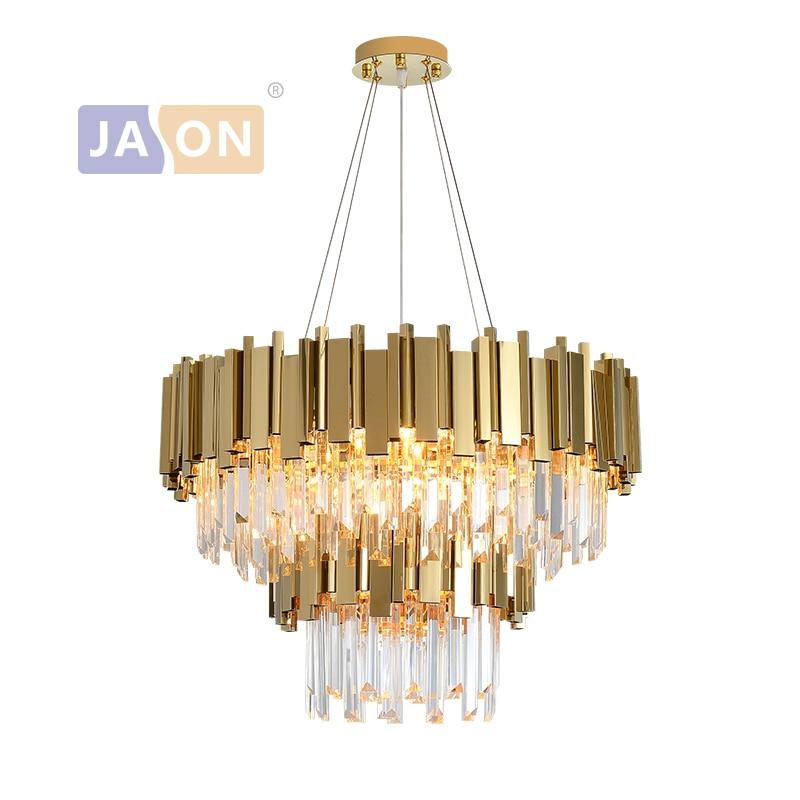 LED ما بعد الحداثة الذهب والفضة الأسود كريستال 2 طبقة مصابيح معلقة أضواء الثريا بريق تعليق الإنارة Lampen ل بهو