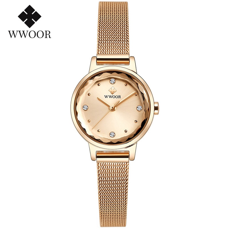 2020 WWOOR Watches Women Luxury Brand Rose Gold Stylish Dress Watch Ladies Casual Quartz Wrist Watch For Women Gifts Reloj Mujer enlarge