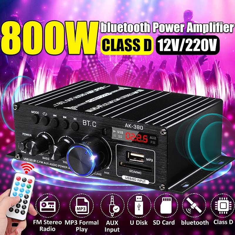 Ak380/ak370/ak170 amplificador de potência áudio karaoke amplificador de teatro em casa 2 canais bluetooth classe d amplificador usb/sd entrada aux
