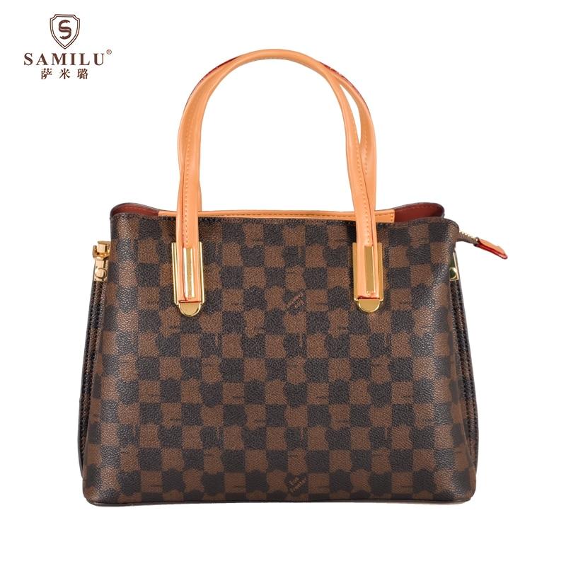 SaMiLu 2021 حقيبة السيدات الموضة البلاستيكية الكلاسيكية تحقق نمط حقيبة يد كروس