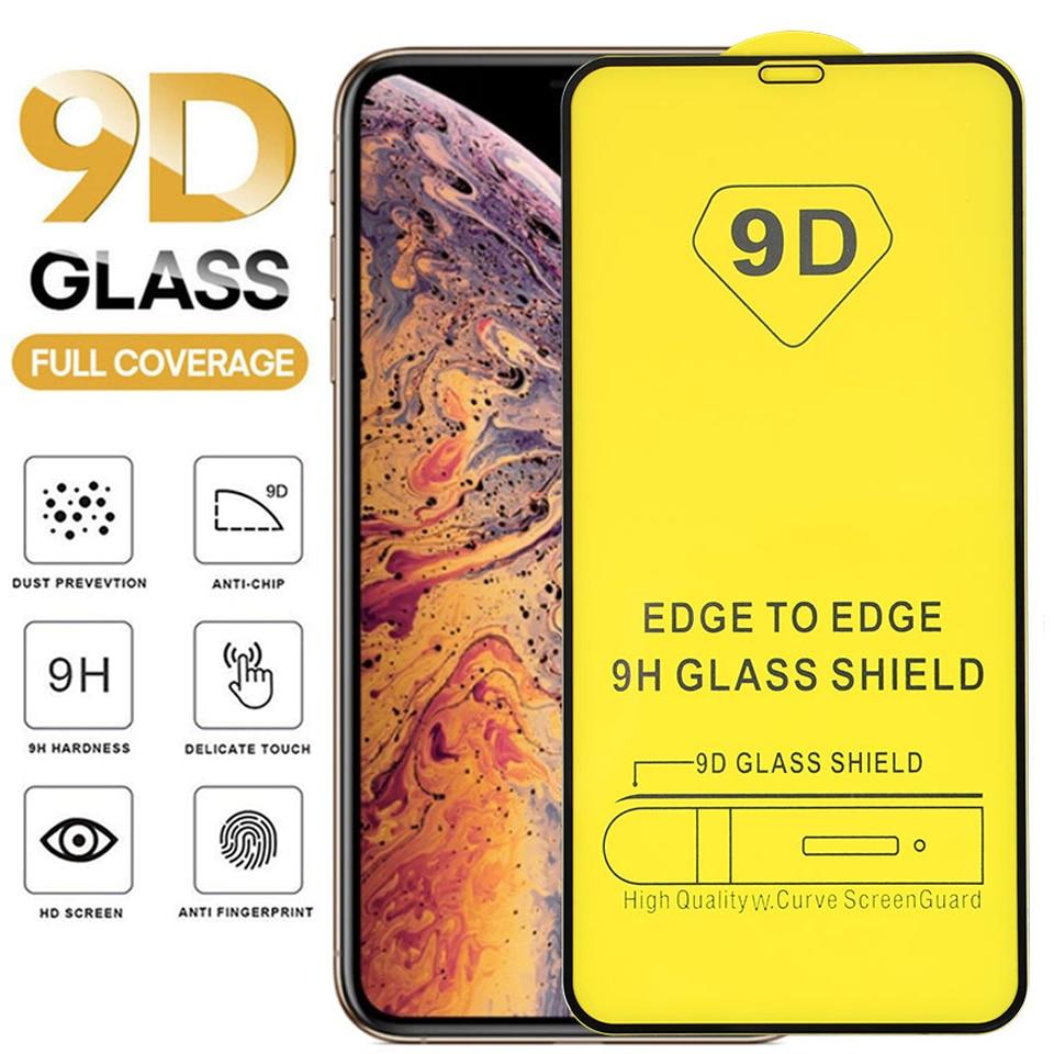 50 unids/lote 9D vidrio templado de cobertura completa para iPhone 12 11promax XR X XS MAX 6 7 8 Plus película protectora de pantalla de vidrio a prueba de explosión