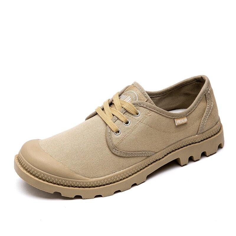 Мужские парусиновые Ботинки, Ботильоны на шнуровке, ковбойские модные однотонные ботинки в стиле милитари, пустыни, палладий, 2020 Повседневная обувь      АлиЭкспресс