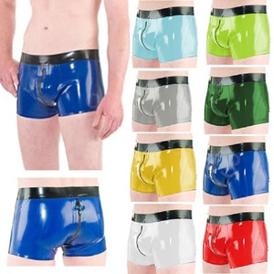 Latex Rubber Fashion Men's Boxer Shorts Color Can Be Selected With Zipper