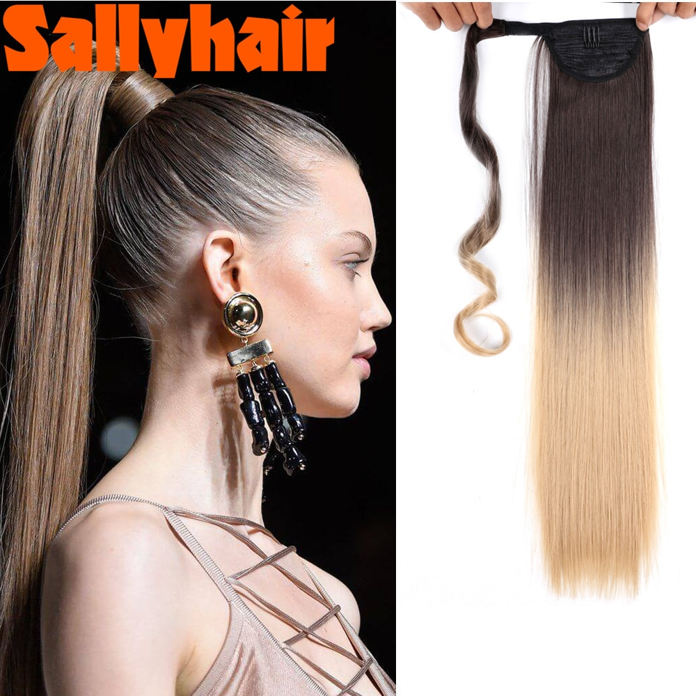 AliExpress - Sallyhair 22Inches Long Straight Wrap Velcro Clip In Ponytail Hair Extensions Heat Resistant Synthetic Pony Tail Fake Hair