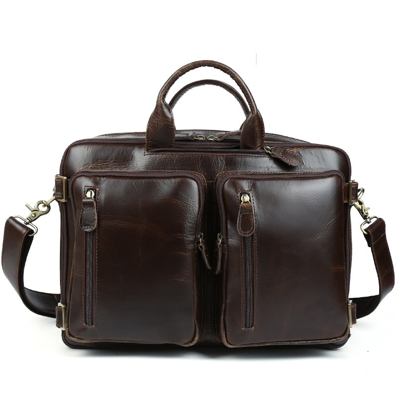 Men Briefcase Bags Real Leather 2021 Fashion Business Casual Large Capacity Black Briefcases Bag