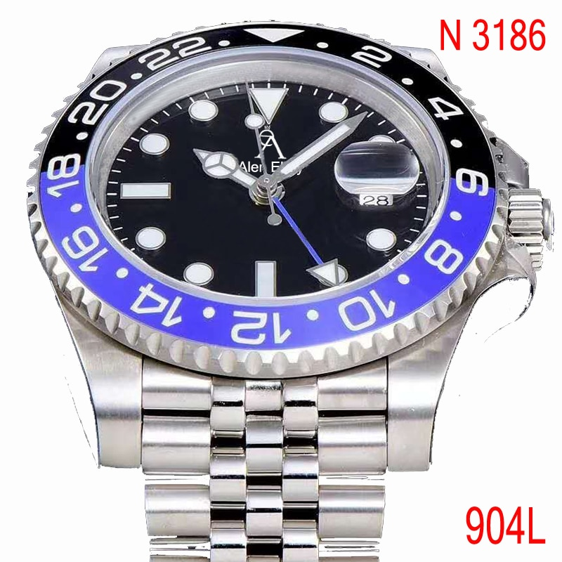 Relógio de Vidro Aaa + Gmt Luxo Preto Azul Cerâmica Moldura Sub Relógios Mecânicos 1:1 Safira Noob Eta3186 904l &