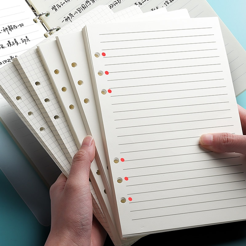 Classic 6 Holes Binder Notebook Inner Paper Core/refilling Inner Papers:line,grid,dots,list,daily Weekly Monthly Planner A5 A6