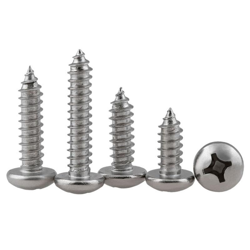 Cabeza redonda de Cruz GuHua tornillo de autorroscante PA 316 de acero inoxidable Philips cabeza de sartén tornillos de madera GB845 M3.5M4M5M6 10 piezas