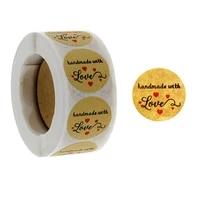 100 500 pcs 1 inch kraft handmade with love label sticker for baking gift card package bag party wrapping small business