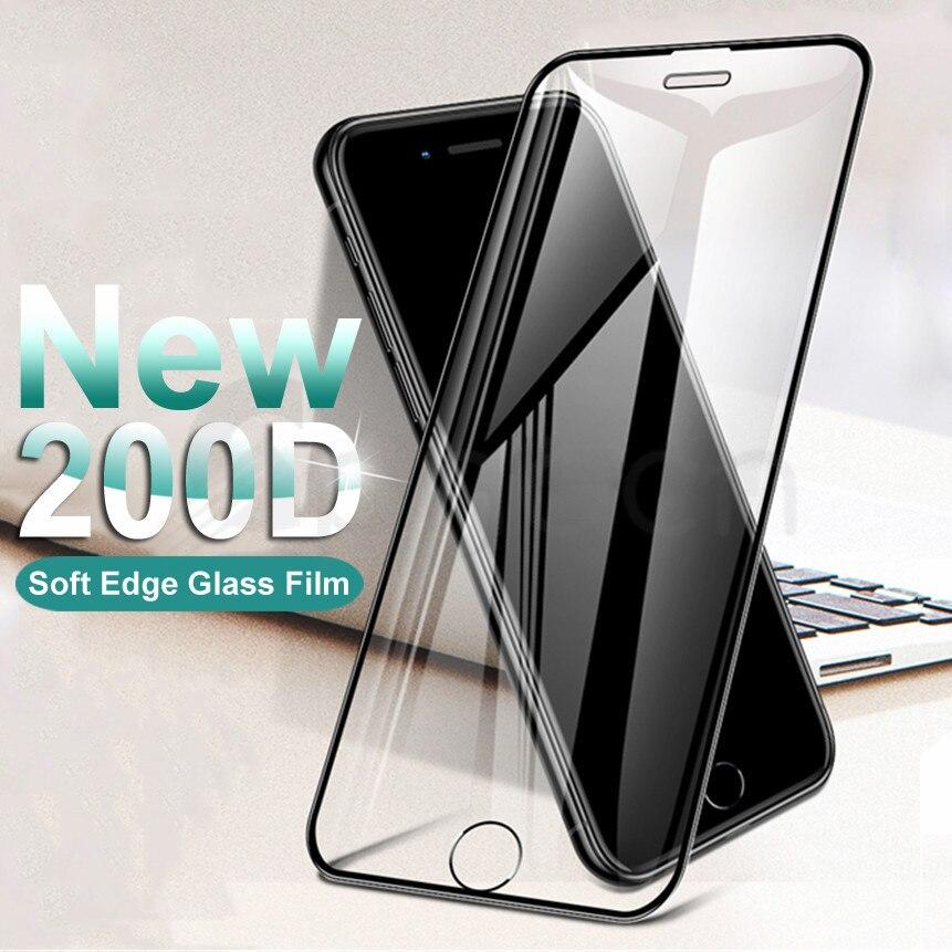 200d borda curvada protetora vidro temperado no para o iphone 6s 6 7 8 plus x xs vidro xr 11pro xs max película protetor de tela caso