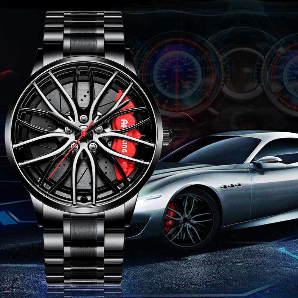 NEKTOM ספורט רכב גלגל שפת רכזת שעונים גברים מותאם אישית עיצוב ספורט רכב רים רכזת גברים שעון נירוסטה עמיד למים Creative שעון