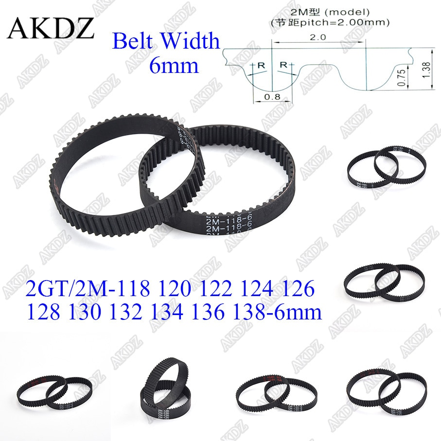 2mgt 2m 2gt synchronous timing belt pitch length 162 164 166 168 170 172 174 176 178 180 182 width 6mm rubber closed 2MGT 2M 2GT Synchronous Timing belt Pitch length 118 120 122 124 126 128 130 132 134 136 138 width 6mm  Rubber closed