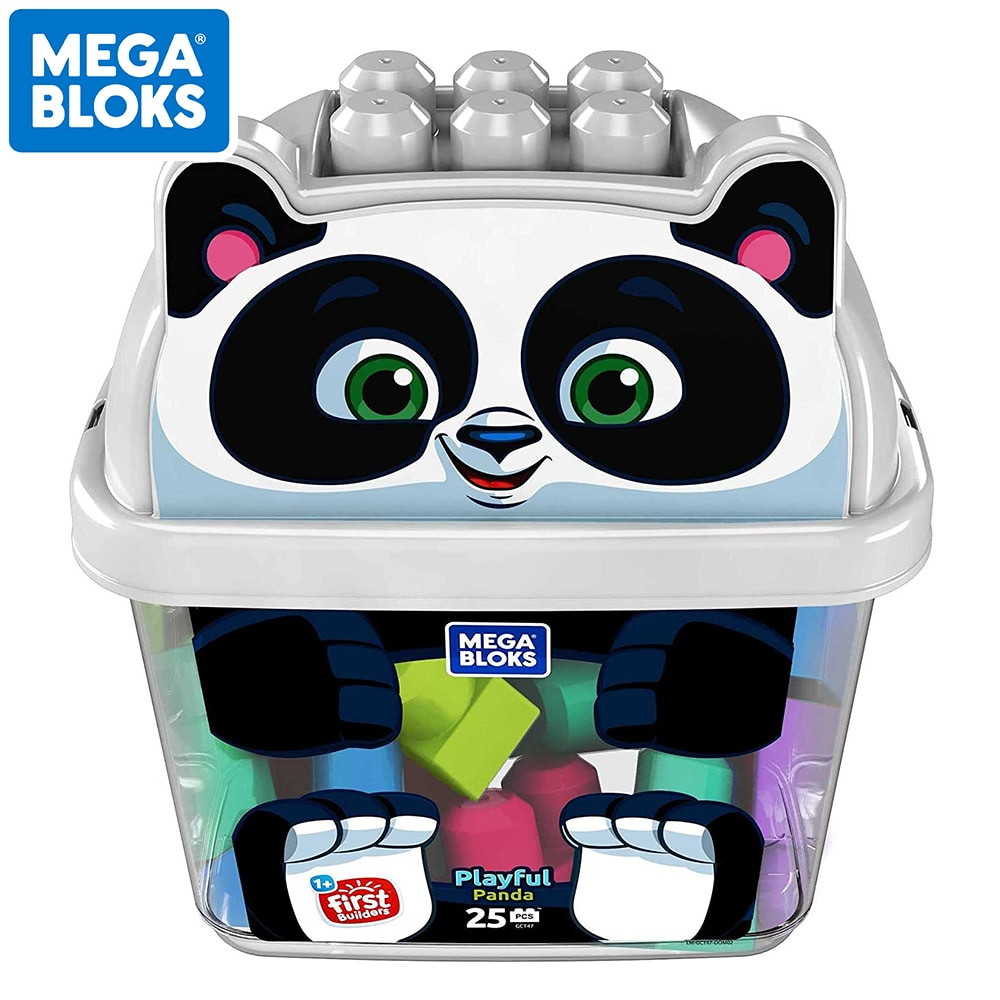 Original MEGA BLOKS First Builders Animal Bucket Assortment 25pcs Big Size Blocks 4 Style Box Kid Toys Playing Building Set