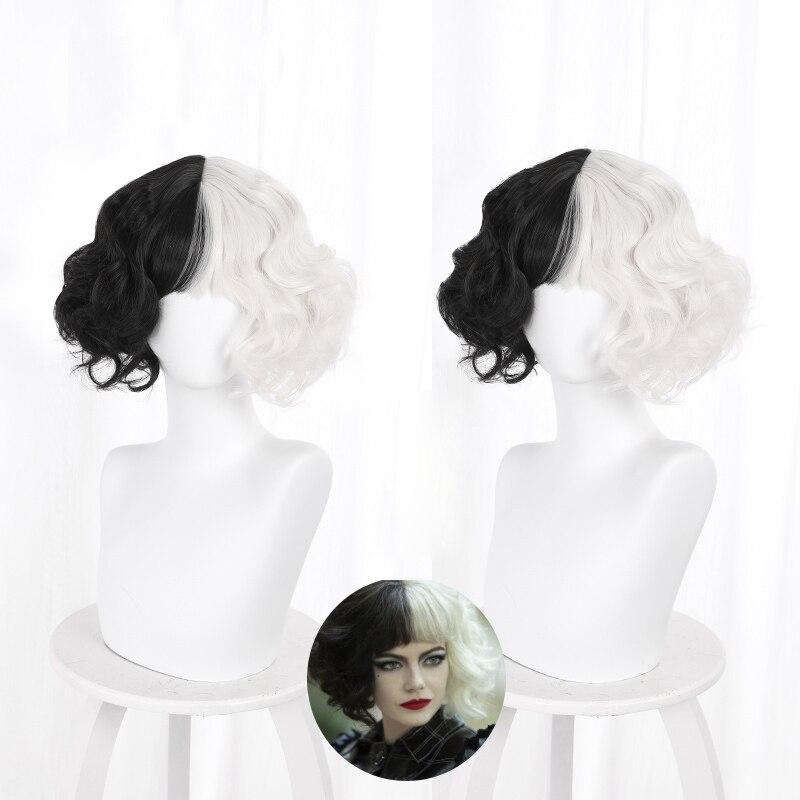 CRUELLA de Vil Short Curly Black White Ms. Spot Hair Deville Dalmations Heat Resistant Cosplay Costume Wigs + Wig Cap