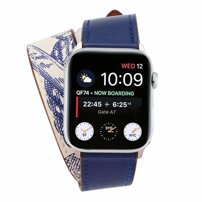 Nuevo bucle de cuero genuino de doble recorrido de Color para Apple Watch correa de 42mm 38mm 40mm 44mm Correa Extra larga para iWatch 5 4 3 2 1