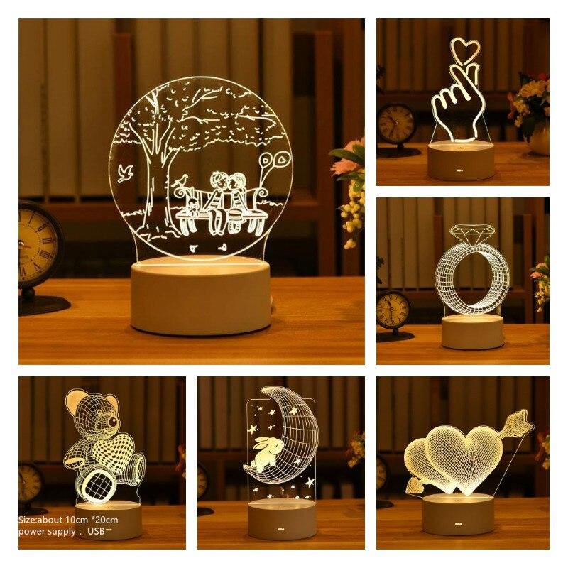 رومانسية الحب ثلاثية الأبعاد الاكريليك Led مصباح للمنزل الأطفال ليلة ضوء الجدول مصباح حفلة عيد ميلاد ديكور عيد الحب أباجورة