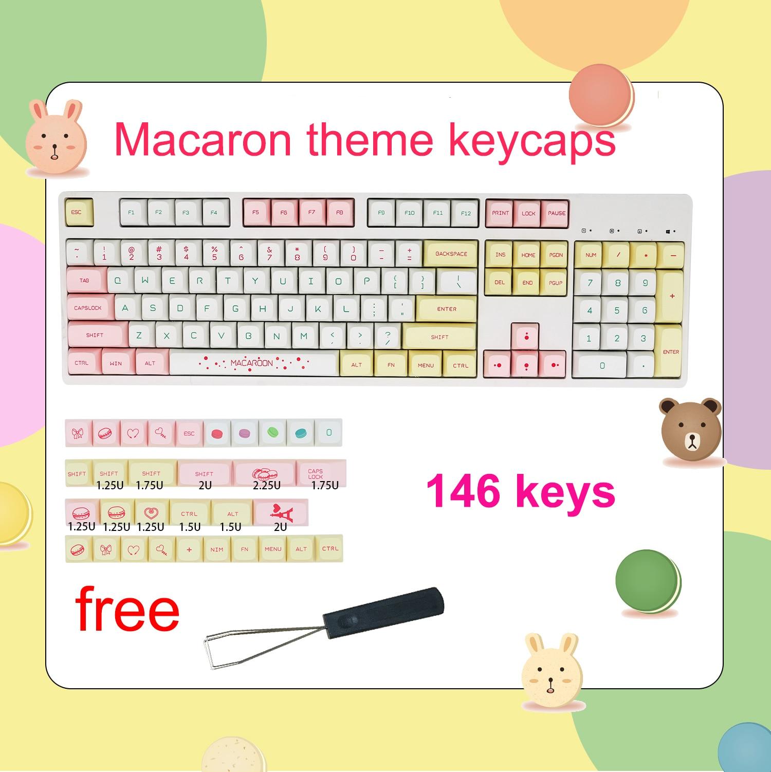 غطاء كروي لموضوع ماكرون QX ، غطاء مفتاح شخصي ، مجموعة صغيرة كاملة من PBT ، تسامي ikbcCherryFILCO ، 146