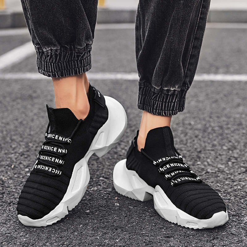 Sneakers Man Summer Unusual Sneakers Man Sport Shock Absorber Men's Plimsoll Shoes Thick Bottomed White Sports Shoes Top Tennis