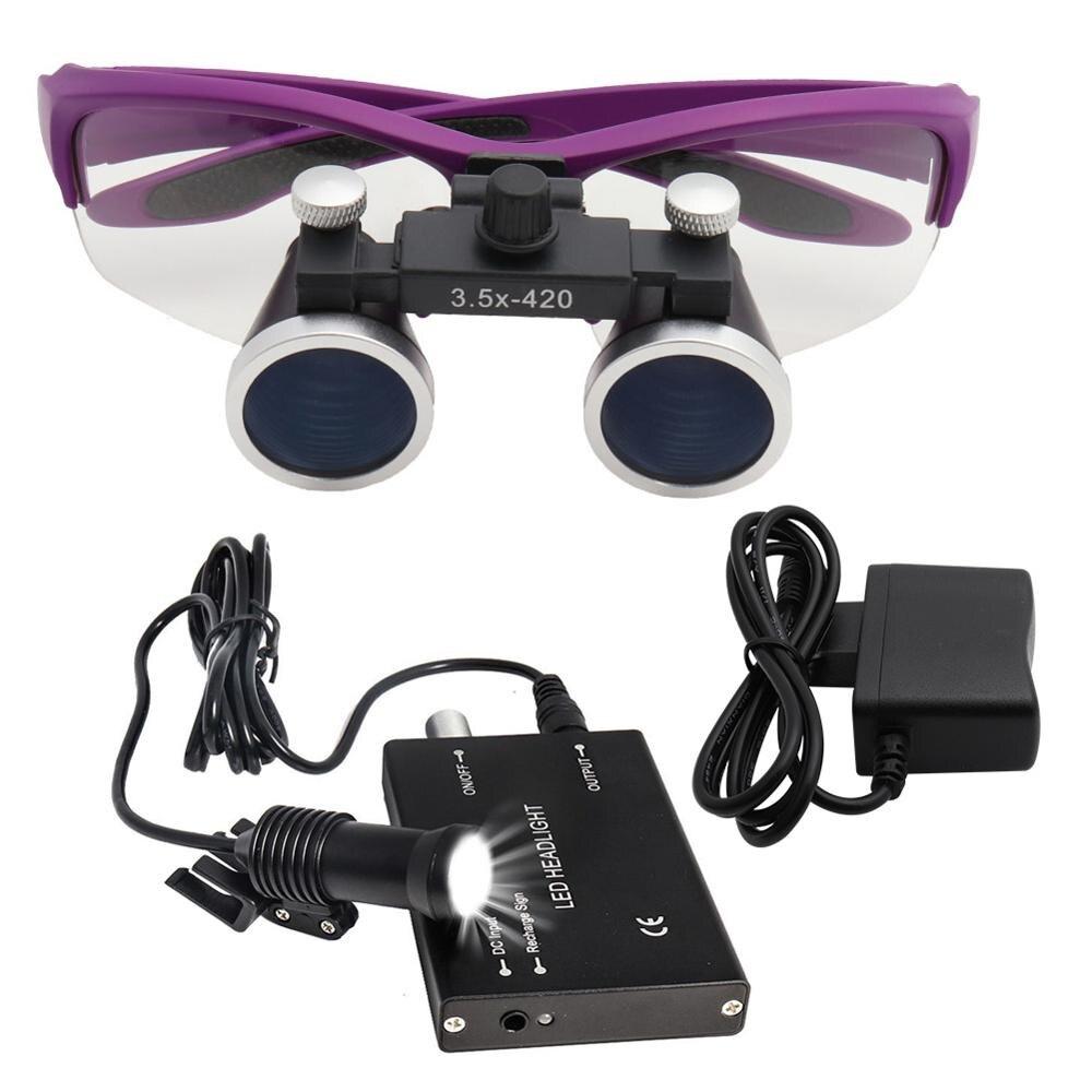 2.5X/3.5X مجهر الأسنان Loupes ث/5 واط LED رئيس ضوء النظارات الجراحية الطبية