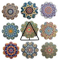 8pcsset ceramic absorbent non slip insulation cup round coasters mandala flower printed insulated place mat wedding supplies