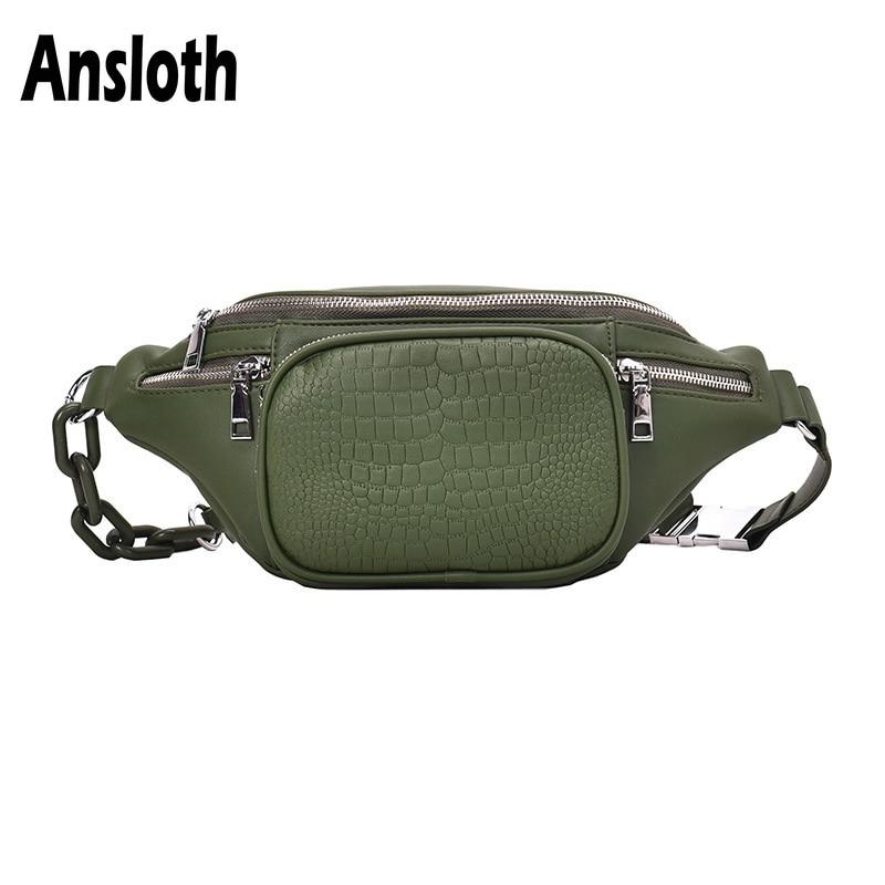 Ansloth Stone Pattern Waist Pack Women PU Leather Belt Bag Lady Solid Color Waist Bag Simple Chest Bag Female Fanny Bag HPS767
