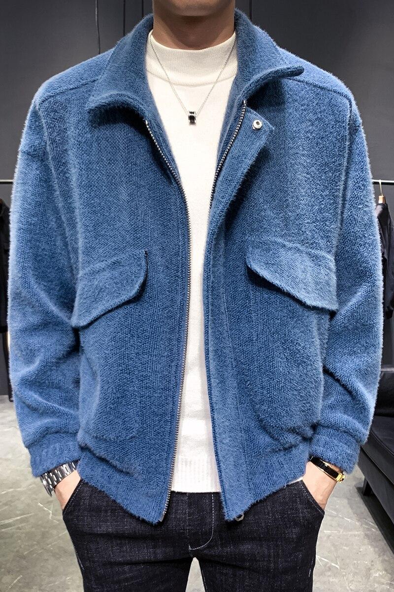 2019 ropa de otoño e invierno de viento japonés capa de lana casual Hombre red de Jóvenes rojo guapo chaqueta camisa de tendencia hombre