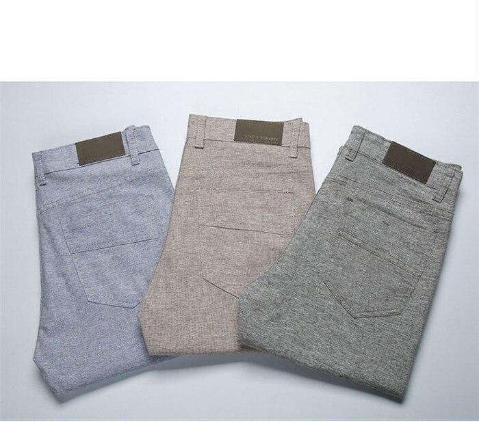 Брюки мужские, новинка 2021, повседневные брюки, льняные мужские брюки, мужские длинные прямые брюки цвета хаки, мужские облегающие деловые ко...
