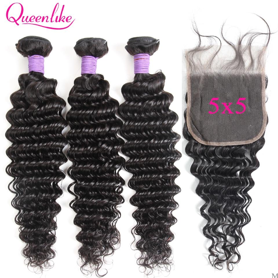 Queenlike-وصلات شعر برازيلية 100% شعر بشري ، لحمة غير ريمي ، مموج عميق مع إغلاق ، 5 × 5 عبوات ، M 3