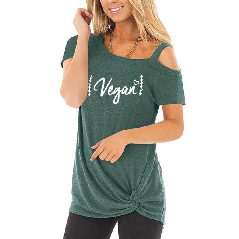 VEGAN Skew Collar Leisure T-Shirt Funny Letters Printing T-Shirt For Women Streetwear 2021 Summer Lovely T-shirt Tops XXL