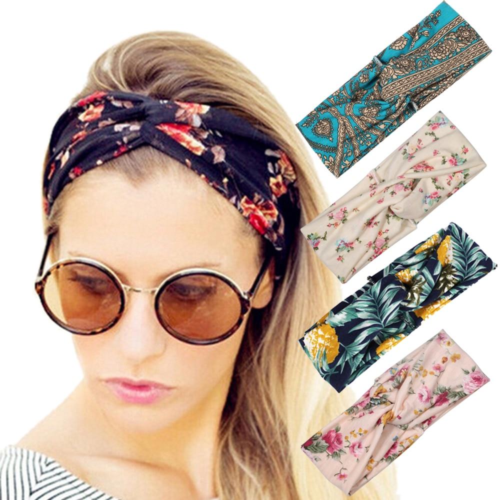 Gran oferta diadema estilo bohemio con estampado de nudo cruzado torcido pañuelo de turbante Diadema con flores accesorios para el cabello para mujer