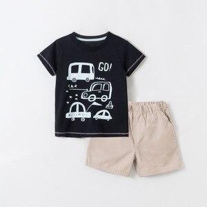 Baby Boys Sets Casual Cartoon Car Printing Short Sleeve T-shirt Shorts 2pcs 2 3 4 5 6 7 Years Toddler Boy Clothing Suits Summer
