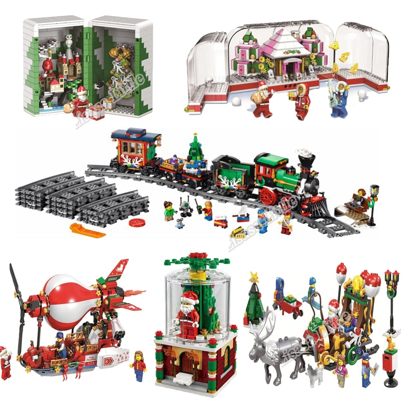 2019 New Christmas Sets Crystal Box Santa Village Train Model With Lepining Building Blocks Bricks Toys For Children Gift