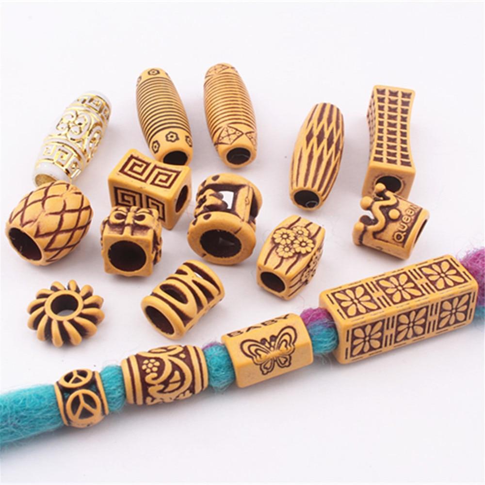 18 Style Hair Jewelry Braid Rings Decoration Pendants Dreadlocks Beads Cuffs Rings Imitation Wood Pl