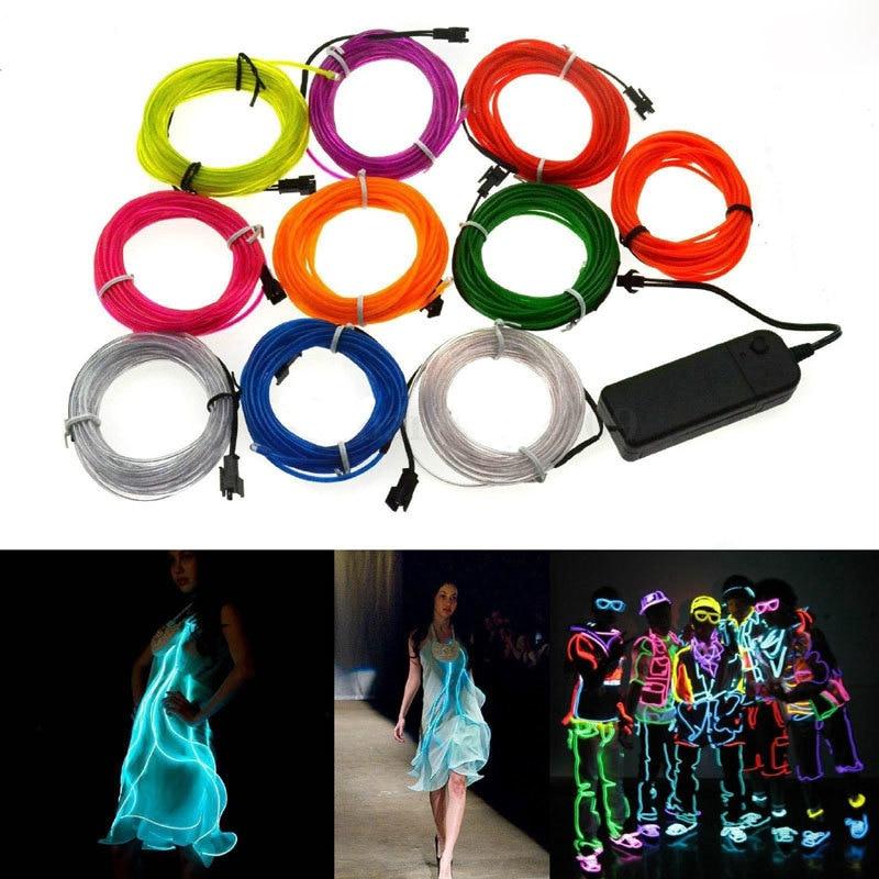 1M 3M 5M EL Wire Neon Light Dance Party Decor Novelty Light Neon LED Lamp Flexible Rope Tube Waterproof LED Strip String Light