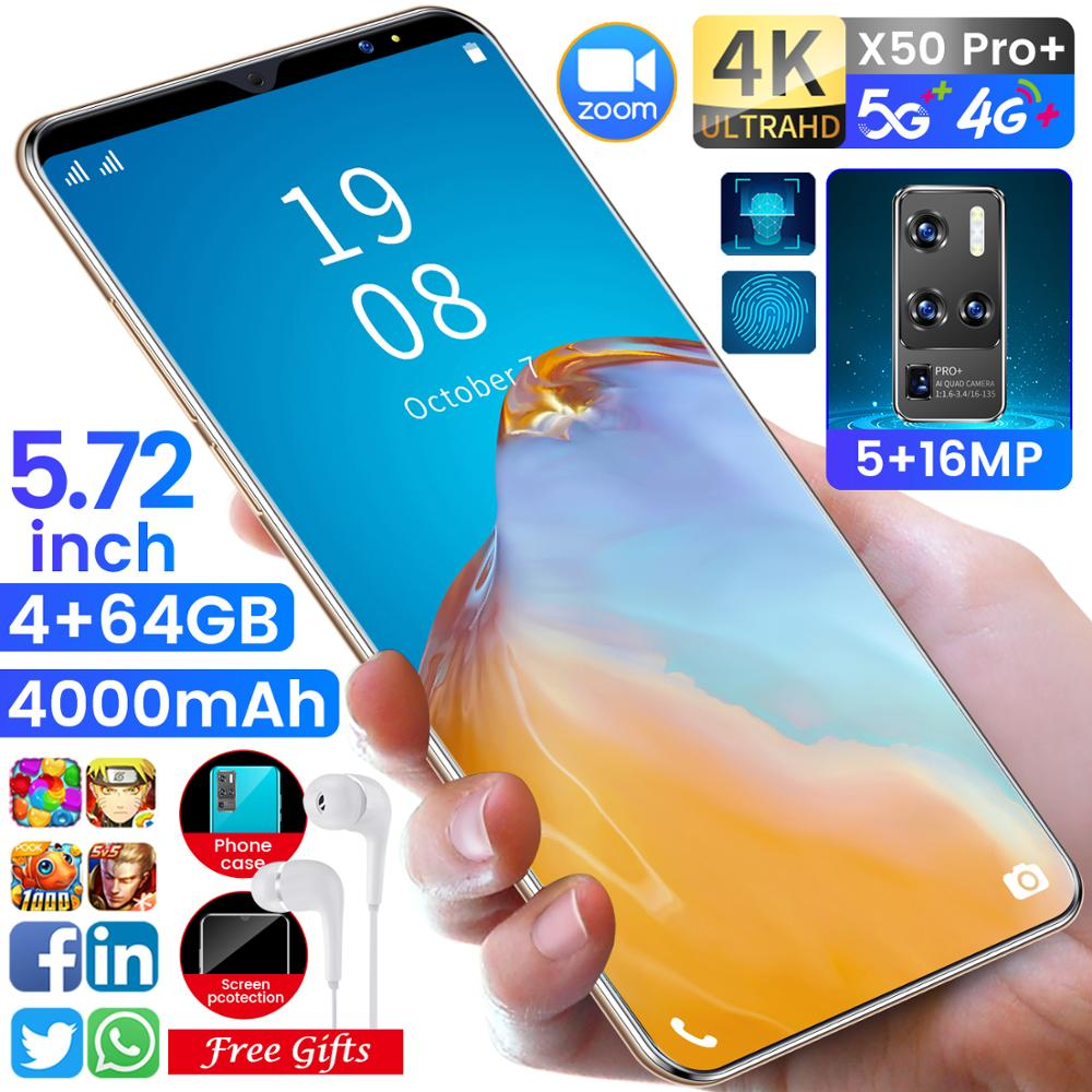 X50Pro 5.8 Inch Full Screen 4+64GB 128GB Mobile Phone 5+16MP 8 Core Faec ID Ai Smart 3G Smart Phone Dual SIM 4000mAh Smartphone